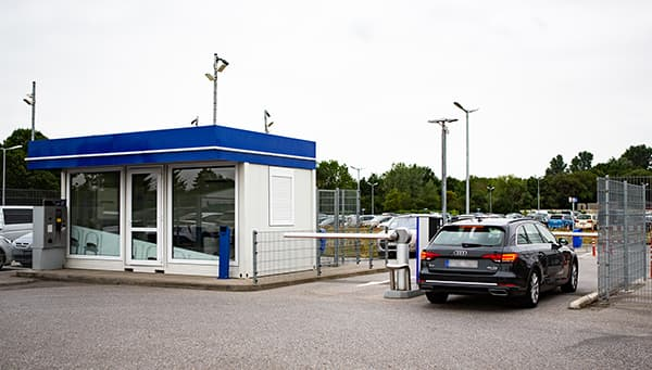Car park entrance at Easy Airport Parking in Weeze