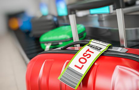 Verloren koffer op een bagageband