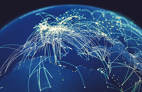 Flight routes around the globe