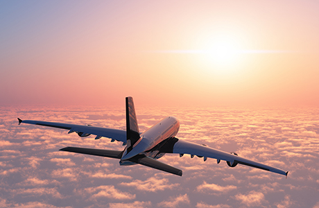 Aircraft above the clouds